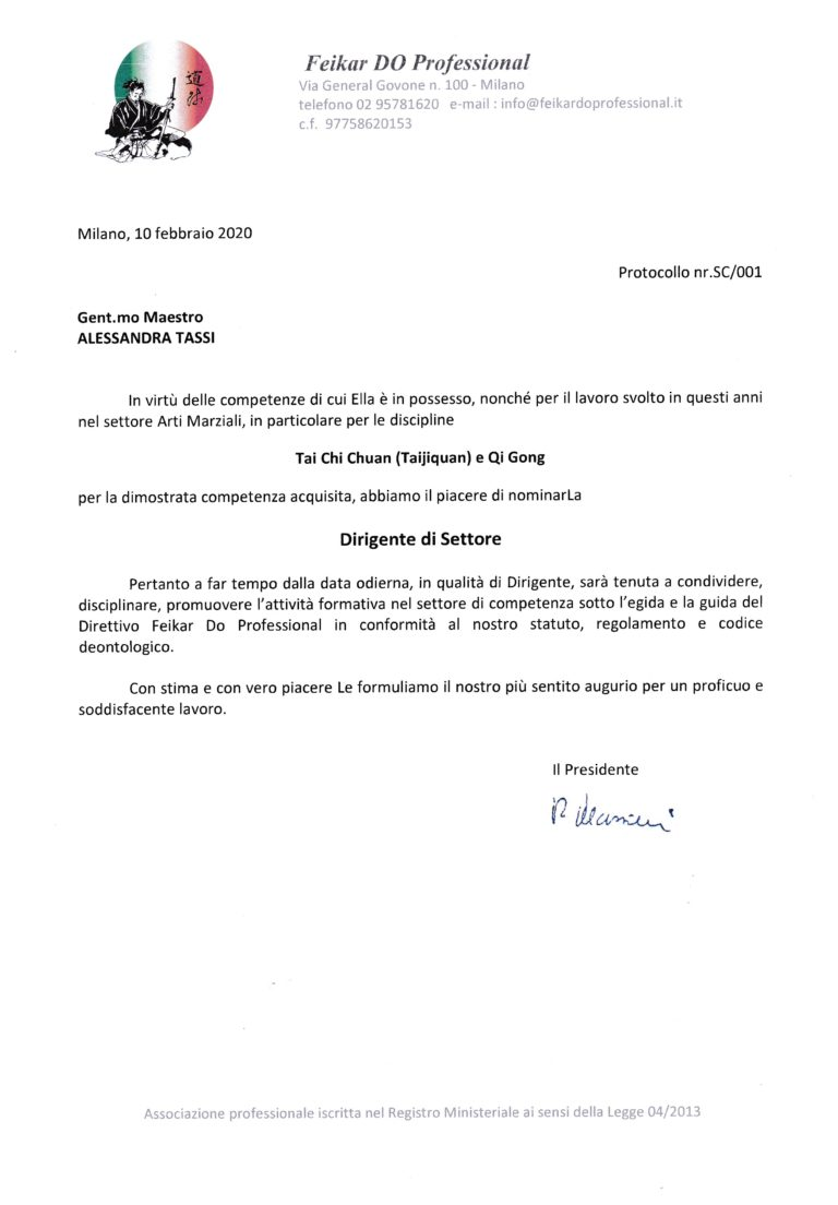 Nomina Alessandra Tassi Dirigente di Settore Feikar Do Professional